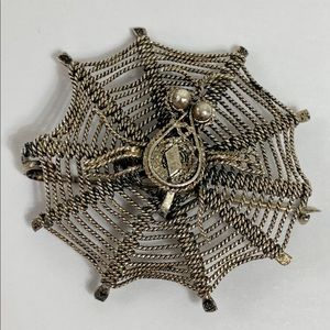 Jewelry - Antique Victorian 800 Silver Spider Wed Brooch Pin
